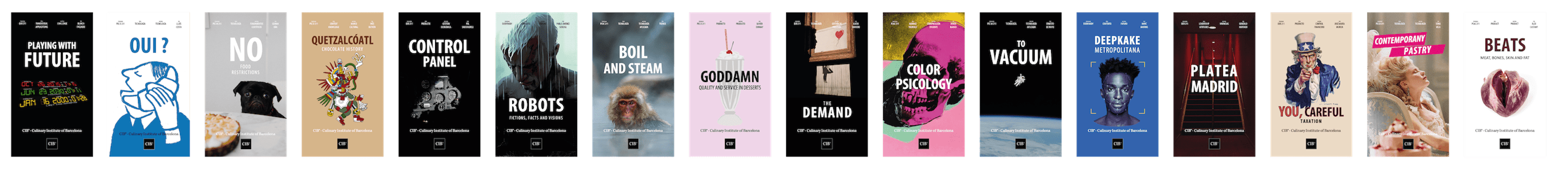 Set of posters of the sessions given at the Culinary Institute of Barcelona