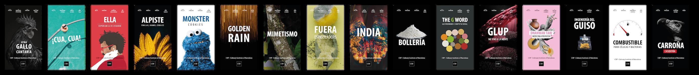 Conjunto de posters de las sesiones impartidas en el Culinary Institute of Barcelona